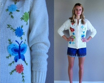 Half Off vintage 60s BUTTERFLY EMBROIDERED tiny fit CARDIGAN xs/s knit sweater colorful retro boho hippie