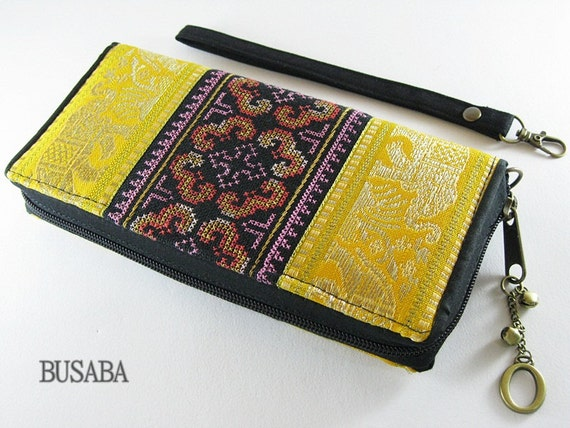 Personalized Monogramed Wallet, Elephant Embroidered Zippered Wallet, Colorful Hmong Tribal Long Wallet