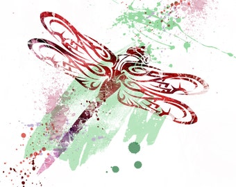 Dragonfly watercolour 10 x 8 inch