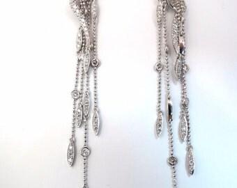 5.00ct natural diamonds modern dangle ball chain drop earrings 18kt