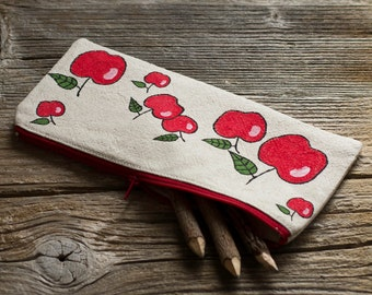 Hand Painted Red Apples Pencil Case, Natural Linen and Cotton Pen Holder, Nature Inspired School Supplies