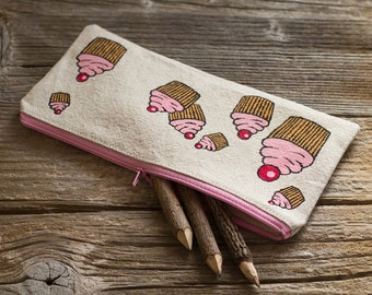 Hand Painted Cupcakes Pencil Case, Natural Linen and Cotton Pen Holder, School Supplies