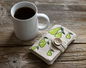 Linen and Cotton Tea Wallet with Hand Painted Pears, Tea Holder, Gift for Tea Lover