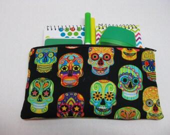 Sugar Skulls Days Of The Dead Pencil Case Or Cosmetics