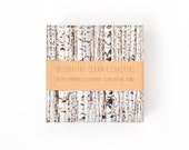 Birch Tree Coasters Winter Landscape Tree Pattern Ceramic Tile Nature Coasters
