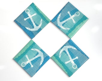 Anchor on Watercolor Background Coasters Blue Green Nautical Coastal Marine Ceramic Tile Coasters