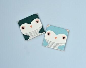 Cute Penguins Coasters Winter Christmas Gift Animal Illustration Ceramic Coasters