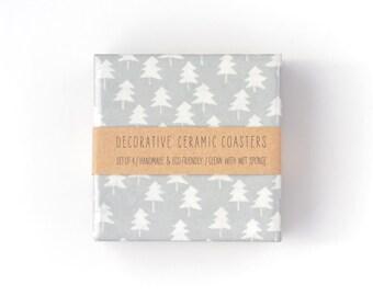 Christmas Coasters Christmas Trees White on Silver Modern Ceramic Tile Coasters Winter Hostess Gift Metallic Decor