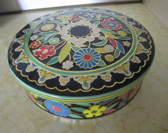 Vintage Round Metal Tin Box Colorful Flower Floral Decor Storage Organization