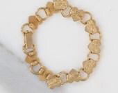 1940s bracelet/ 40s brass heart link bracelet
