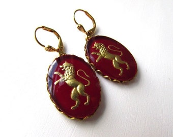 Red Lion Intaglio Earrings, Vintage Intaglio, Red Cameo Jewelry, Glass Cameo Earrings, Burgundy and Gold, Gold Lion Jewelry, 19th Century