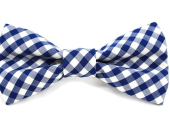 Blue Plaid Dog Bow Tie | Blue Gingahm Dog Bow Tie | Wedding Dog Bow Tie | Gingham Dog Bow Tie