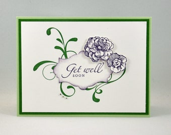 Get Well Greeting Card, Get Well Soon, Thinking of You, Flowers, Swirls, Purple, Green, White, Rhinestones, Stamped, Blank Inside