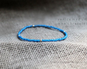 venice med silver mens bracelet - mediterranean blue with sterling silver beads small bracelet for men