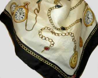 """Large vintage ECHO silk Scarf Watches 34"""" X 35""""  #A031"""