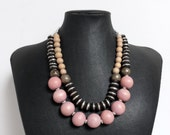Mali Prayer Bead Necklace with Pink Wood - Ebony Mali prayer beads, pink recycled wood beads, pewter chips, old ethiopian metal beads