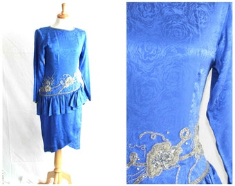 80s peplum silk beaded dress cobalt royal blue  / extra small xs size / Dynasty Dallas prom fashion / with sleeves
