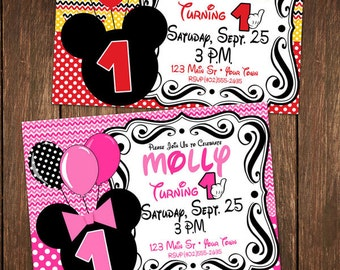 Micky Mouse Birthday Invitaion (DIGITAL FILE) PERSONALIZED