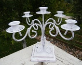 White Candelabra - Cottage Chic and Shabby - Rustic Wedding Centerpiece Decoration - Holiday Table Decoration - Metal & Wood - One of  Kind