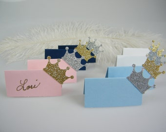 25 Crown Place Cards / Little Prince Princess / Royal Baby Shower / Name cards / Escort Cards / Gold Crowns or Silver / First Birthday