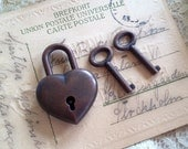 Small Antique Copper Heart lock Card Wine Box Two Sets Of Keys