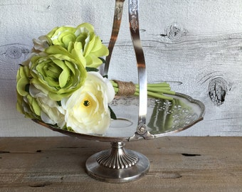 Silver plated pedestal dish with handle. Silver serving dish.