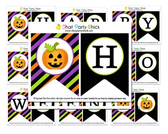 Happy Halloween Banner Printable - Instant Donwload - Halloween Stripe Collection