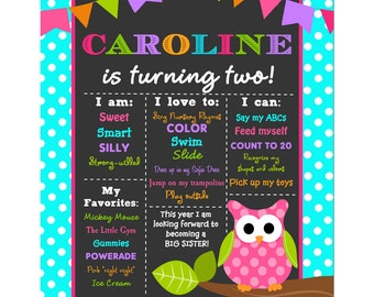 Owl Birthday Chalkboard Sign Printable or Printed with FREE Shipping - Pink Lil' Owl Collection