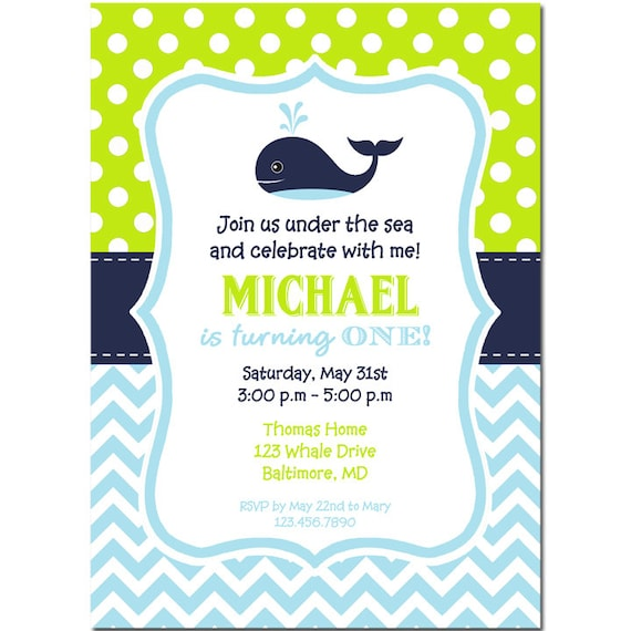 Whale Invitation Printable or Printed with FREE SHIPPING Baby