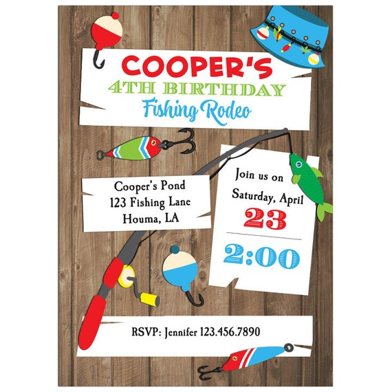 Fishing invitation printable or printed with free shipping for Fishing birthday party invitations