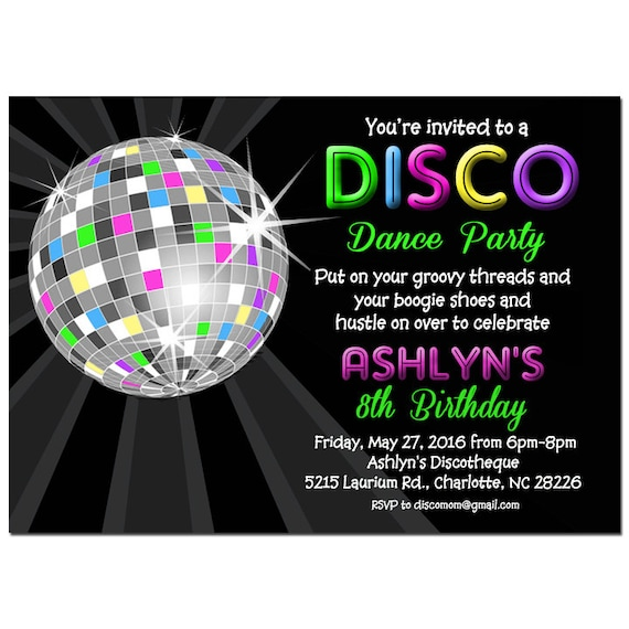Disco Ball Neon Invitation Printable Or Printed With Free