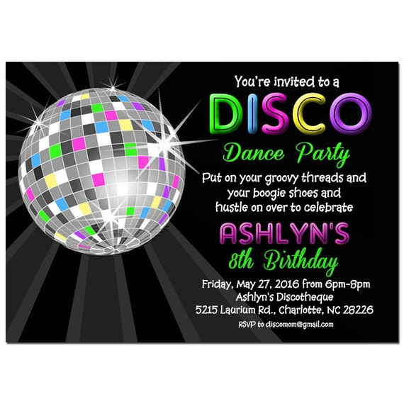 disco ball neon invitation printable or printed with free, Birthday invitations