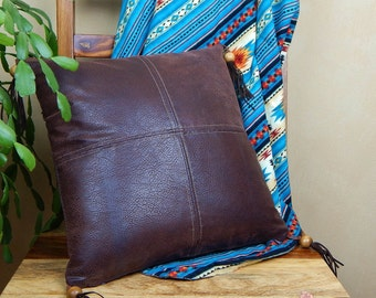Leather Pillow with Wood Tassels, Rustic Throw Pillow, Boho Western Pillow Decor