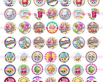 SHOPKIN Jpg 8.5x11 inches printable instant download for bottle caps, magnets, birthday party theme in modern designs