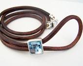 Mens, Eyeglass Lanyard, Eyeglass Holder, Unisex Eyeglass Loop, 4mm Leather, Eyeglass Necklace, Brown Leather, Chain,