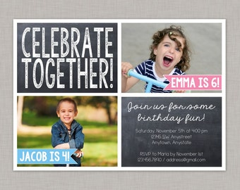 Sibling Birthday Invitation, Twin Birthday Invitation, Friends, Chalkboard