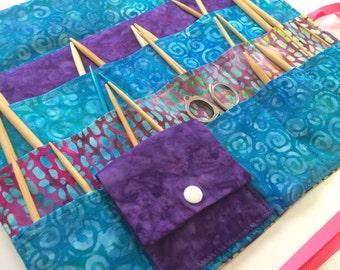 Circular Needle Case/Organizer in Beautiful Batik Fabrics (also available as DPN Case)