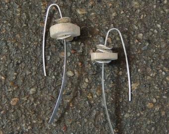 Organic Antler Earrings, Sterling Silver Petal Earrings, Wishbone Hoops, LONG Antler Slice Hoops, Real Antler Earrings, Open Hoop Earrings