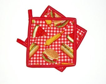 Quilted Pot Holders, Kitchen Decor, Summer Picnic, Red Checked, Watermelon, Corn On Cob, Hamburger, Set of 2
