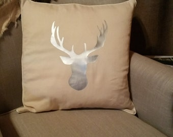 Hand Made Pillow with Deer Head