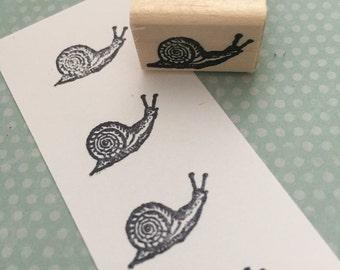 Tiny Snail Mounted Rubber Stamp
