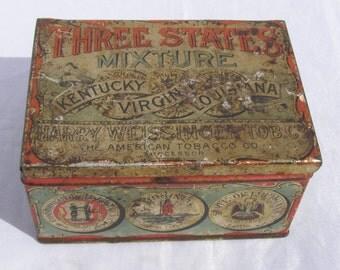 Early Three States Mixture Tobacco Tin / Vintage Tobacco / Vintage Tin