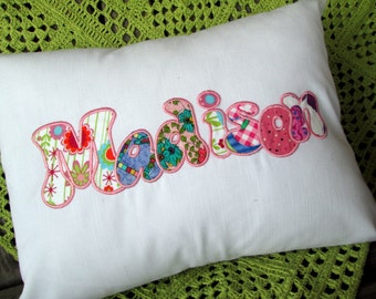 Girl Or Boy Applique Name Pillow Cover, Personalized Name Throw Pillow Cover, Custom Embroidered Name, Baby Pillow