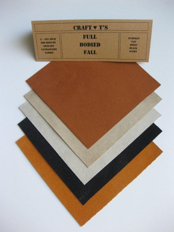 Ultrasuede Full Bodied Fall 5x5 Squares, Pumpkin, Beige, Tan, Black and Acorn