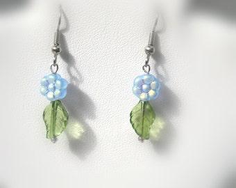 Blue Flower Earrings with Green Leaves