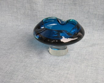 Vintage Blue Glass Ashtray Pedestal Art Glass Ashtray Retro Atomic