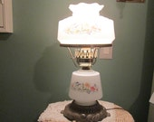 Vintage Hurricane Boudoir Lamp / Milk Glass Floral Lamp / Cottage Lighting