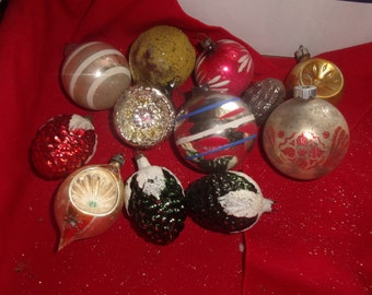 lot 12 vintage glass christmas tree ornaments shiny brite