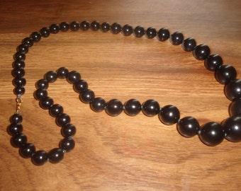 vintage necklace long black glass