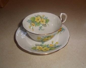 vintage bone china tea cup saucer set royal standard england yellow flowers